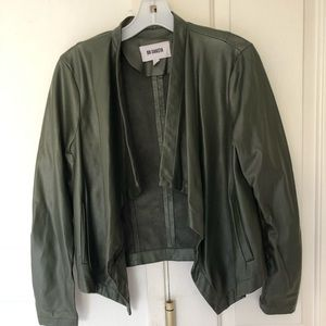 BB Dakota faux leather olive moto jacket size M